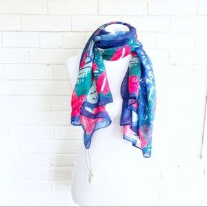 NWT Floral tropical print bright blue pink scarf